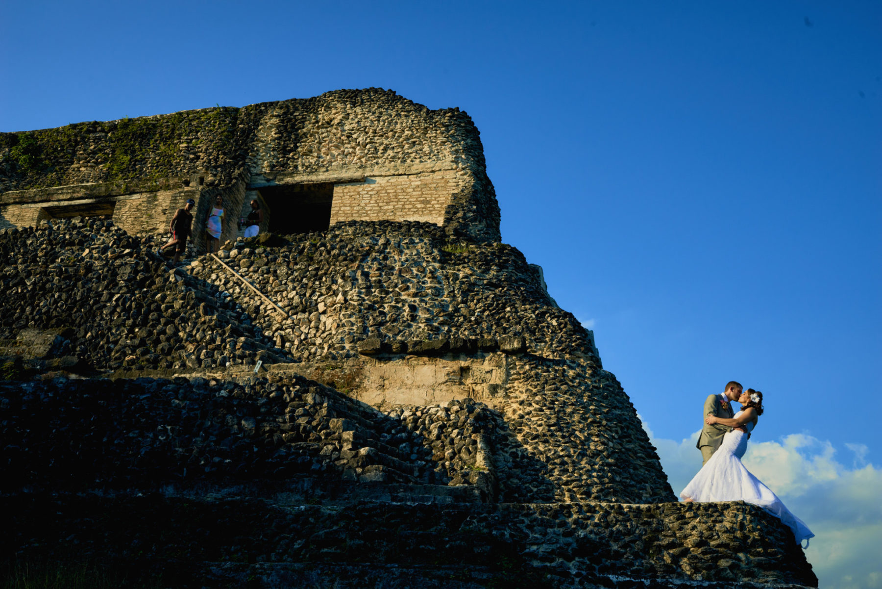 Bride and Groom at Xunantunich Mayan Ruin, Belize