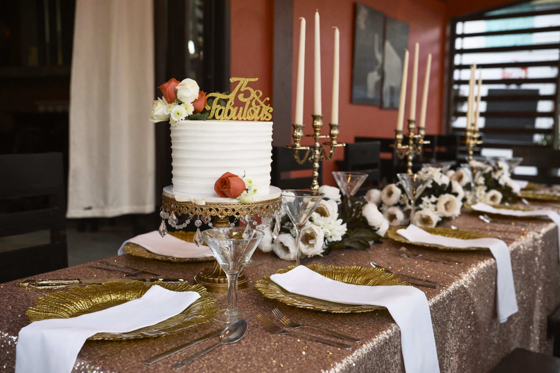 Gold and White Birthday Party Arrangements at Ambergris Caye Belize