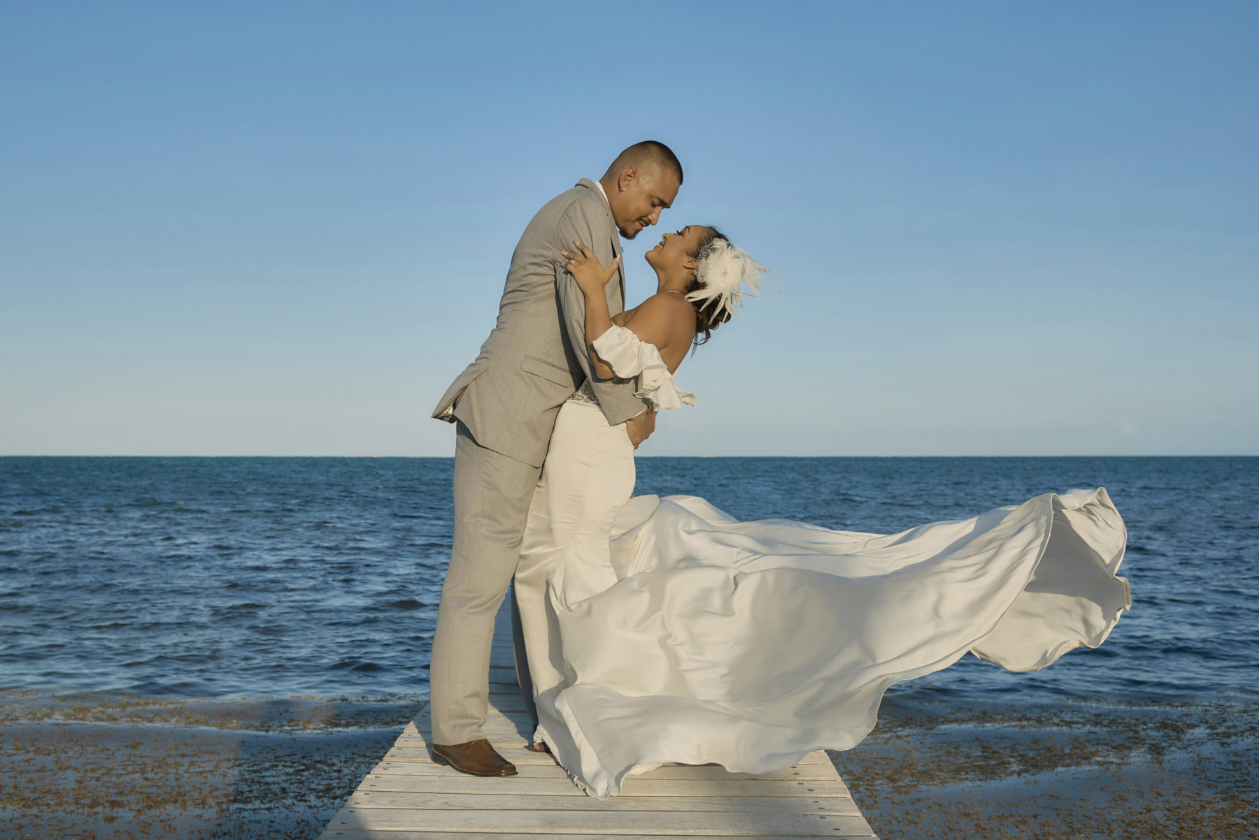 Bride and Groom at Caye Caulker Wedding, Belize