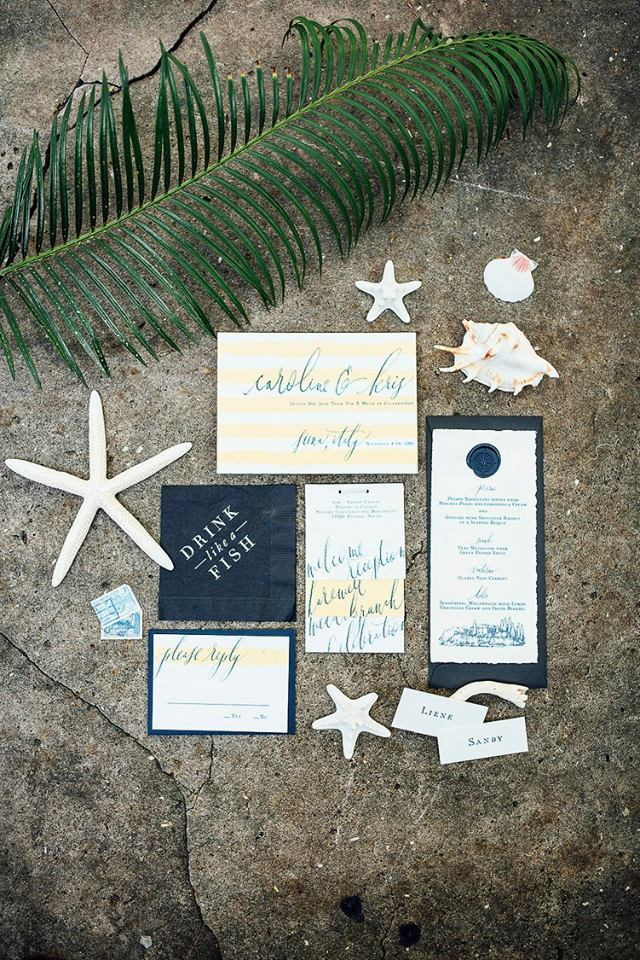 Yellow and blue Wedding invitations for Tropical Themed wedding, wedding planner in Belize