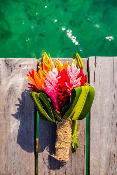 Tropical bridal bouquet, Belize wedding at Starfish Island