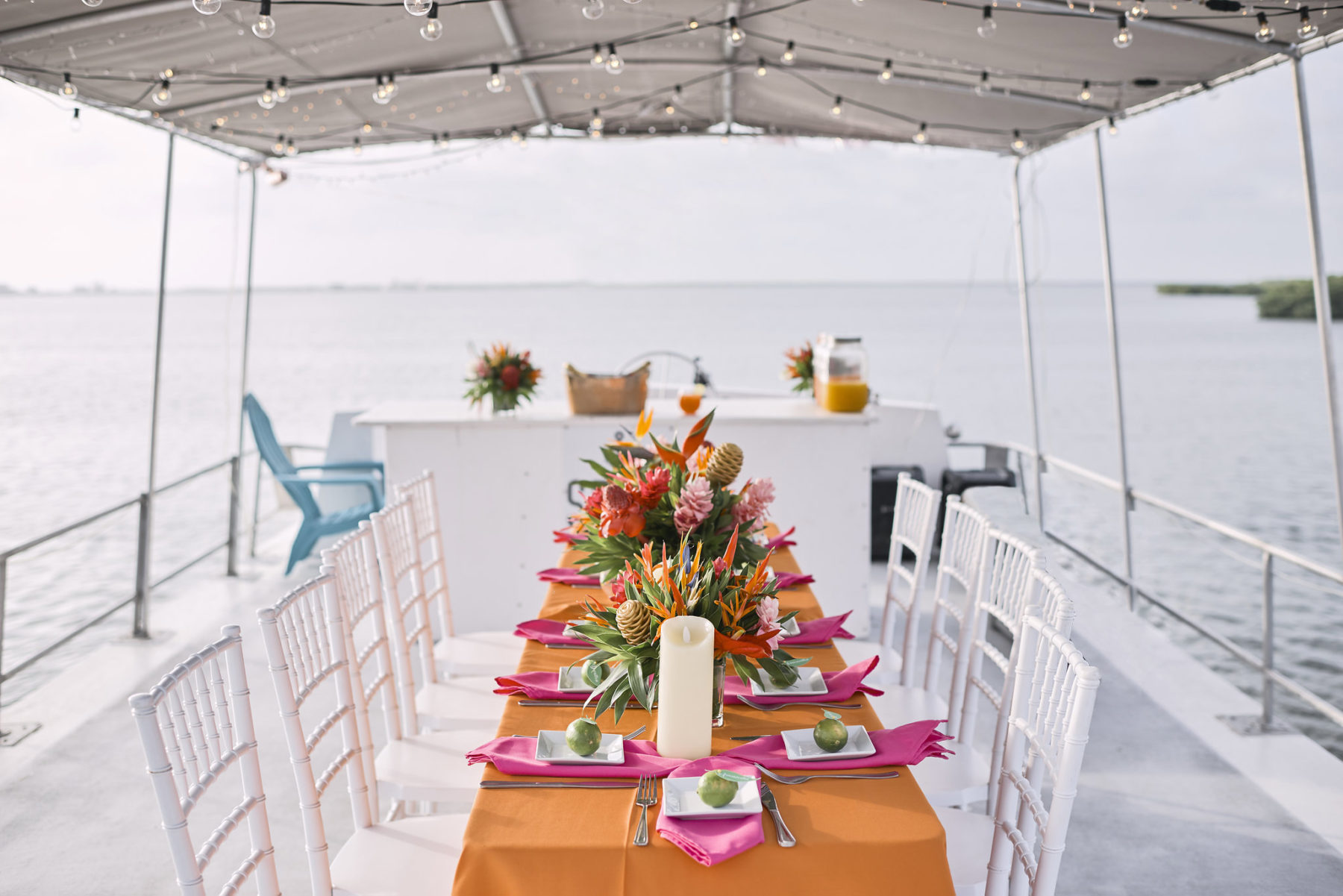 Table Arrangements, Sunset cruise Birthday celebration at Ambergris Caye, Belize