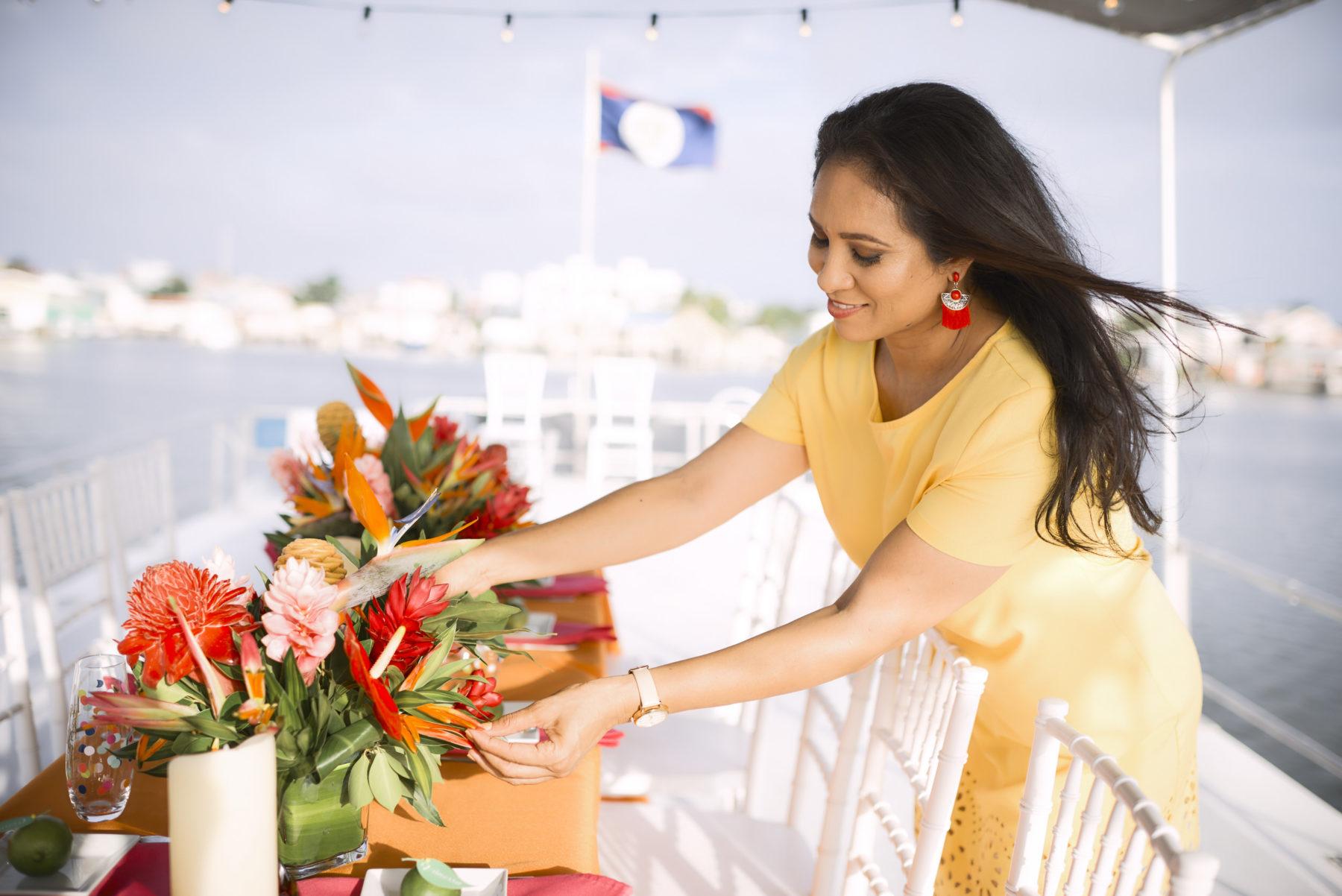 Table Arrangements, Sunset cruise Birthday celebration at Ambergris Caye, Belize