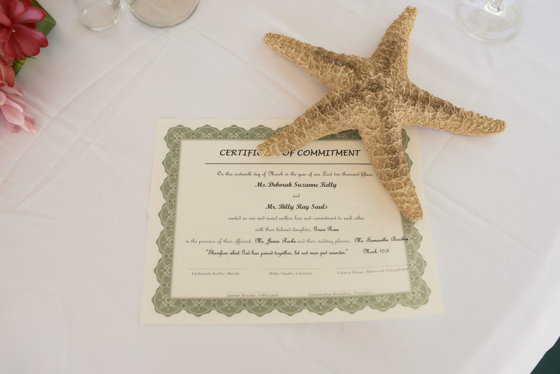 Certificate of commitment, Starfish Island Wedding, Belize